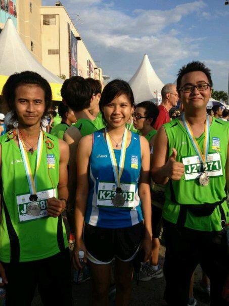 Ijat, Izzati and me, after running 10km on the Penang Bridge!