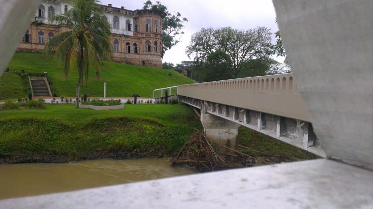 A bridge running across a stream...