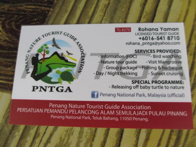 Give her a call if you are interested to join any activity at the Penang National Park! ;)
