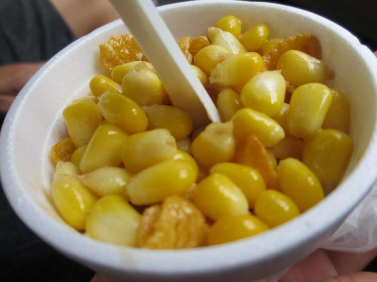 Corn in cup with cornflakes and caramel sauce!