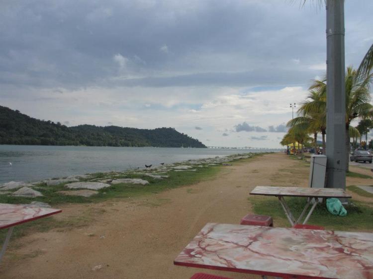 Tea time by the sea. Spot the new Penang 2nd Bridge?
