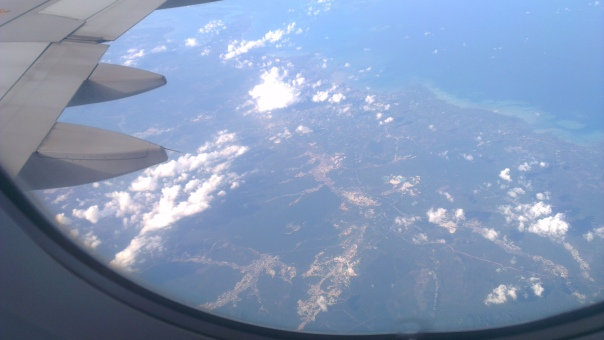 Over the ocean which separates Malaysia and Indonesia.