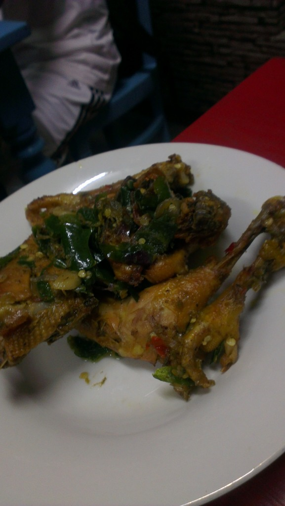 The smashed-chicken with the delicious 'sambal' [chilli paste]...