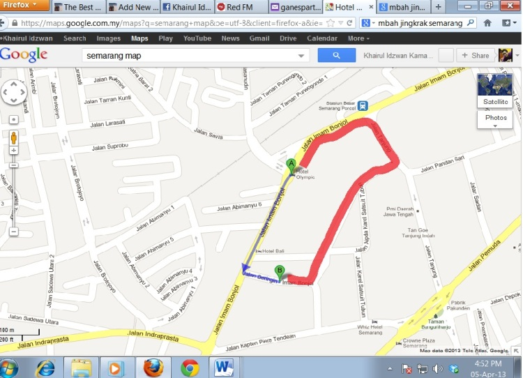 We went to Mbah Jingkrak by walking... Our path is the red one...