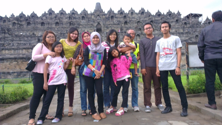 Family portrait in front of the Borobudur Temple...