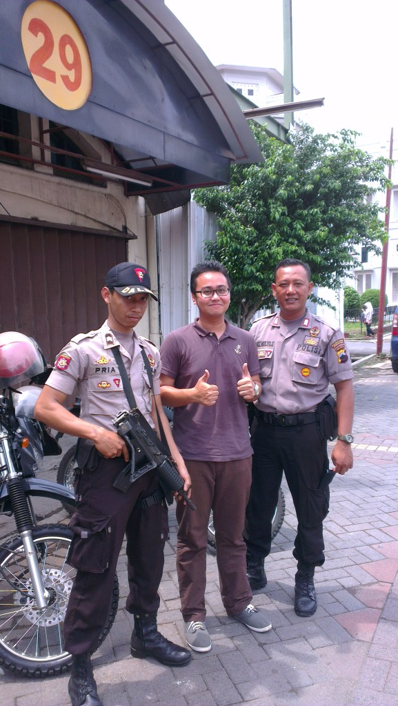 With the local police officers...