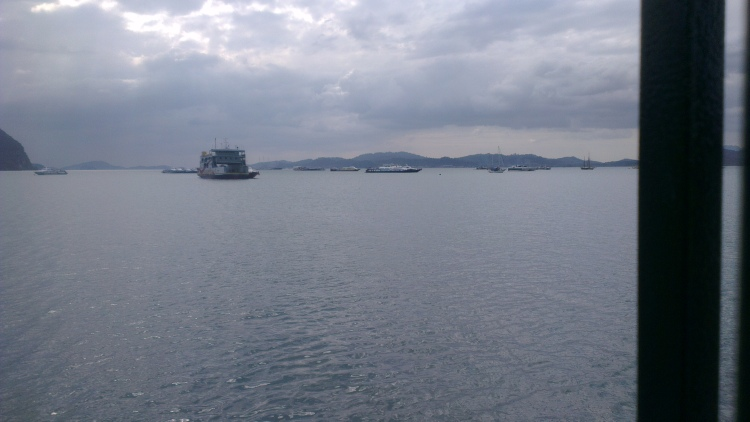 The ferries heading towards the jetty...