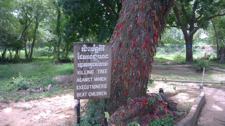 The Khmer Rouge killed the babies by smashing them to this tree!