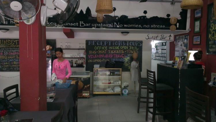 The hostel's reception/restaurant/mini bar area