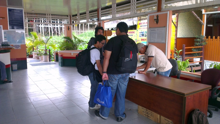 Buying the boat return ticket.