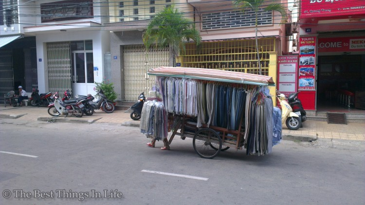Mobile clothing shop. Rare view for me :)