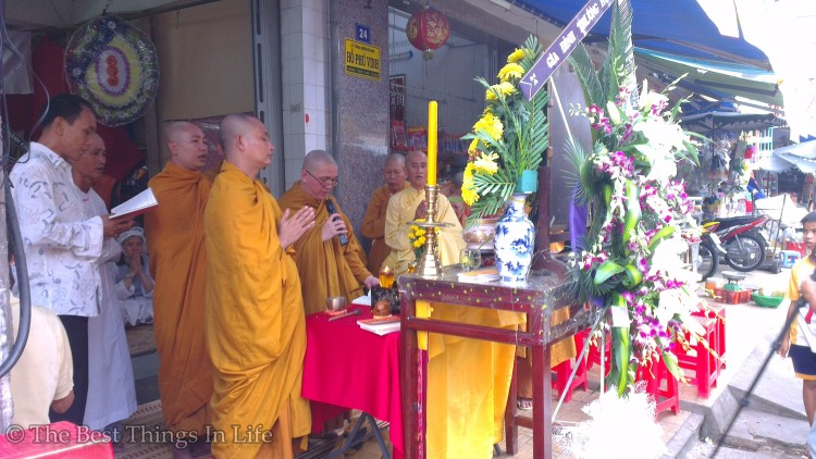Blessing ceremony of a newly-opened shop.