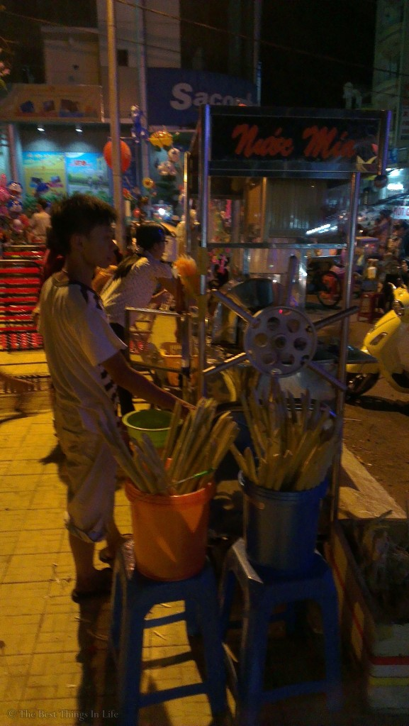 Sugarcane drink at the night market.