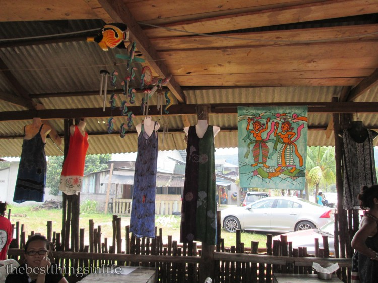 Some of the ready-made batik clothing on display.
